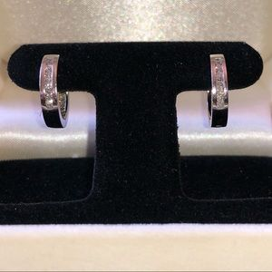 Diamond Huggie Hoop Earrings in White Gold
